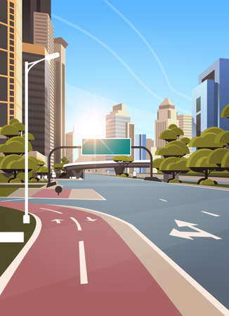 asphalt road with bike cycling lane path information banner traffic signs city skyline modern skyscrapers cityscape sunshine background flat vertical vector illustration