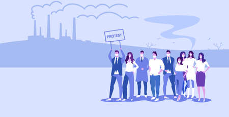 people in masks holding protest placard signboard men women crowd protesting against nature air pollution plant pipe polluted environment background sketch horizontal full length vector illustration