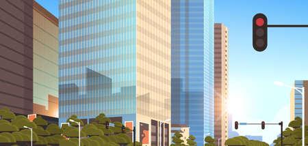 beautifil city street with traffic light skyline high skyscrapers modern cityscape sunrise background flat horizontal closeup vector illustration