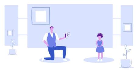 man using smartphone camera father standing on knee taking photo of little girl model shoot concept sketch horizontal full length vector illustration Stock Illustratie