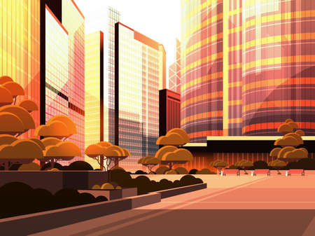 beautifil city street sunset skyline high skyscrapers modern cityscape background flat horizontal vector illustration