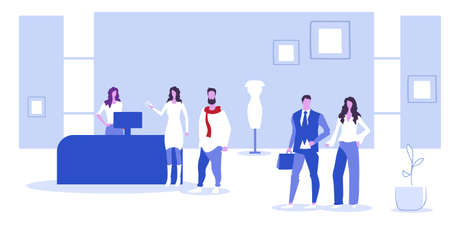 customers standing at cash desk counter people choosing clothes big sale concept fashion boutique interior sketch horizontal full length vector illustration