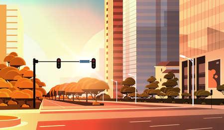 beautifil city street asphalt road with traffic light high skyscraper modern cityscape sunset background flat horizontal closeup vector illustration
