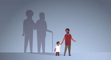 african american father with son holding hands shadow of young and mature man standing together imagination aspiration concept full length flat horizontal vector illustration Illustration