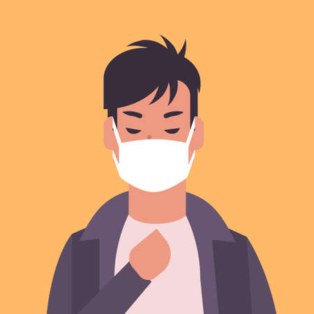 man wearing face mask environmental industrial smog dust toxic air pollution and virus protection concept male cartoon character portrait flat vector illustration Illusztráció