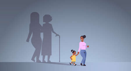 african american mother with daughter holding hands shadow of young and mature woman standing together imagination aspiration concept full length flat horizontal vector illustration