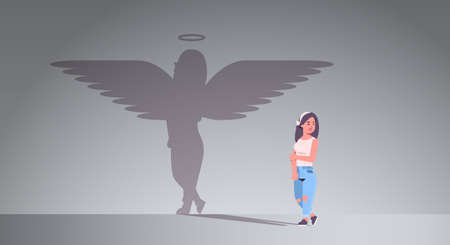cute girl with shadow of angel imagination aspiration concept female cartoon character standing pose full length flat horizontal vector illustration