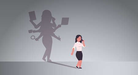busy businesswoman talking on phone shadow of business woman with many hands multitasking overworked concept female cartoon character standing pose full length flat horizontal vector illustration