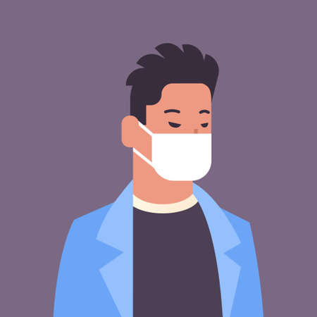 man wearing face mask environmental industrial smog dust toxic air pollution and virus protection concept male cartoon character portrait flat vector illustration Stock Illustratie