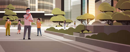 people wearing face masks environmental industrial smog dust toxic air pollution and virus protection concept men women walking outdoor city building cityscape background full length horizontal vector illustration Illustration