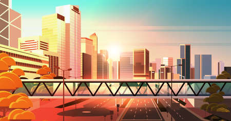 footbridge over highway asphalt road with marking arrows traffic signs city skyline modern skyscrapers cityscape sunset background flat horizontal vector illustration Illusztráció