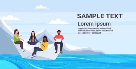 people floating on paper boat mix race men women using gadgets traveling together digital addiction web surfing concept horizontal flat copy space vector illustration