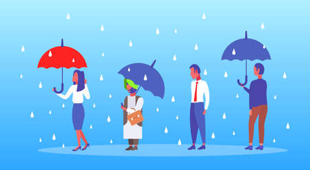 mix race businesspeople holding umbrella unprotected businessman standing under rain protection concept male female cartoon characters full length flat horizontal vector illustration Иллюстрация