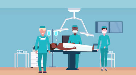 mix race surgeons team surrounding patient lying on operation table during surgery medical workers in operation room horizontal flat full length vector illustration