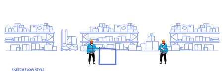 workers in uniform storage logistic delivery service concept shelves with cardboard boxes warehouse interior sketch flow style horizontal banner vector illustration