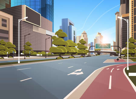 asphalt road with bike cycling lane path information banner traffic signs city skyline modern skyscrapers cityscape sunshine background flat horizontal vector illustration
