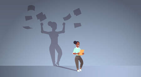 african american businesswoman holding folder shadow of business woman throwing paper documents overvorked aspiration imagination concept full length flat horizontal vector illustration