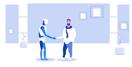 man handshaking with robotic person futuristic artificial intelligence technology agreement concept business automation human vs robot shake hand office interior sketch full length horizontal vector illustration