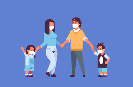parents and children wearing face masks environmental industrial smog dust toxic air pollution and virus protection concept family holding hands standing together full length horizontal flat vector illustration