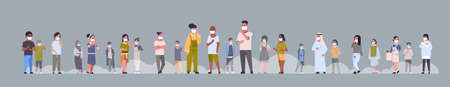 people wearing face masks environmental industrial smog dust toxic air pollution and virus protection concept mix race men women walking outdoor full length horizontal flat vector illustration