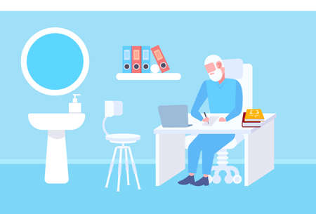 senior doctor sitting at table workplace using laptop and writing prescription modern clinic office interior medicine and healthcare concept full length flat horizontal vector illustration Illusztráció