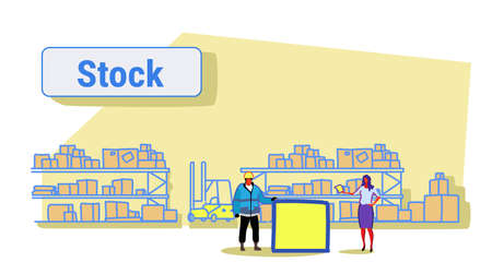 woman giving paper document to man worker in uniform storage logistic delivery service stock concept shelves with boxes warehouse interior sketch horizontal banner vector illustration