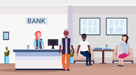 mix race people in queue to specialist at reception counter financial consulting center with waiting room and reception modern bank office interior horizontal flat vector illustration