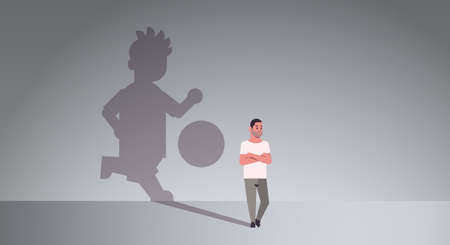 casual man dreaming about playing football guy and shadow of player with ball imagination aspiration concept male cartoon character standing pose full length flat horizontal vector illustration