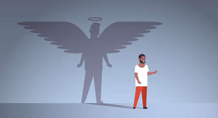african american guy with shadow of angel imagination aspiration concept male cartoon character standing pose full length flat horizontal vector illustration 일러스트