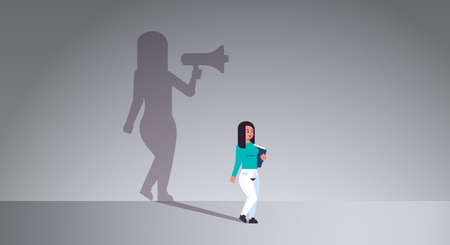 girl dreaming about being manager or boss screaming in megaphone shadow of business woman with loudspeaker imagination aspiration concept full length flat horizontal vector illustration