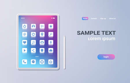 realistic tablet pc mobile application icons ui colorful screen on gray background digital technology concept horizontal copy space vector illustration Banque d'images - 129397760