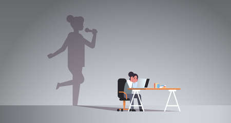 woman sitting at workplace using laptop shadow of singer holding microphone and singing imagination aspiration concept female cartoon character flat horizontal full length vector illustration 일러스트
