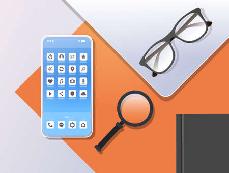 smartphone mobile application icons creative ui screen top angle view workplace desktop with cellphone magnifier zoom glasses and notepad horizontal vector illustration Stock Illustratie