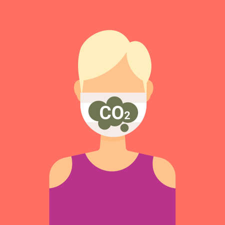 woman wearing protective face mask with CO2 icon crbon dioxide emissions control concept girl profile avatar female cartoon character portrait flat vector illustration Ilustrace