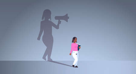 african american girl dreaming about being manager or boss screaming in megaphone shadow of business woman with loudspeaker imagination aspiration concept full length flat horizontal vector illustration