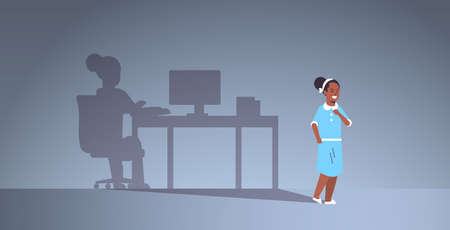 african american girl dreaming about being freelancer shadow of woman working on computer at workplace imagination aspiration concept female cartoon character full length flat horizontal vector illustration
