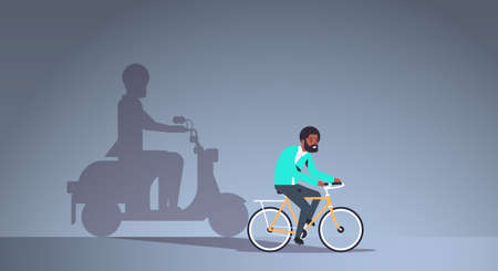 african american guy riding bike shadow of man on motor scooter imagination aspiration concept male cartoon character full length flat horizontal vector illustration