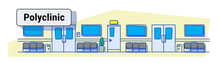 empty hospital clinic hall with seats and doors empty no people corridor polyclinic interior sketch doodle horizontal banner vector illustration