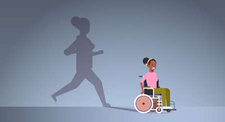 disabled african american girl on wheelchair dreaming about recovery shadow of healthy woman running imagination aspiration concept female cartoon character full length horizontal vector illustration Vettoriali