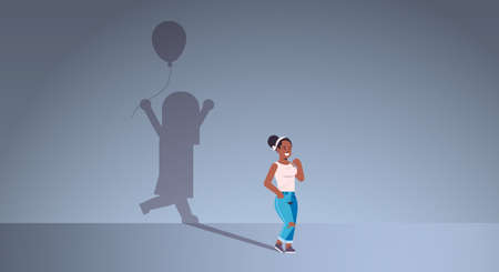 african american woman dreaming about being a child shadow of little girl with air balloon imagination aspiration concept female cartoon character standing pose full length flat horizontal vector illu