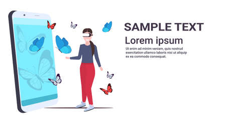 woman wearing digital glasses girl touching vr flying butterfly from smartphone screen headset vision virtual reality technology concept flat full length horizontal copy space vector illustration