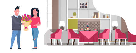 man presenting bouquet of flowers to woman international happy womens day 8 march holiday concept couple in love romantic dinner modern restaurant interior horizontal vector illustration