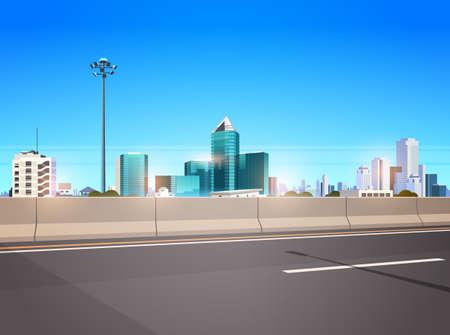 snelweg asfaltweg met chipper stad skyline moderne wolkenkrabbers stadsgezicht achtergrond vlakke horizontale banner vectorillustratie