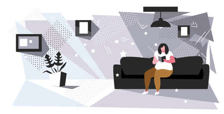 fat woman sitting on couch reading book obese girl relaxing with textbook on sofa education obesity concept modern living room interior sketch full length horizontal vector illustration