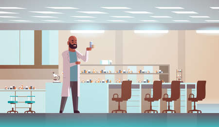 scientific researcher holding drugs packages african american man analyzing pills scientist making experiment research science concept modern laboratory interior full length horizontal flat vector illustration