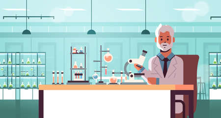 senior scientist using microscope and test tubes man in uniform sitting at table making scientific experiments chemistry laboratory interior research science concept horizontal portrait vector illustration