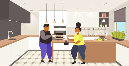fat obese coupe cooking sweet homemade dessert overweight man woman cooking cake unhealthy nutrition obesity concept modern kitchen interior flat full length horizontal vector illustration