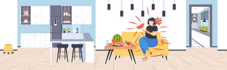 fat obese woman eating watermelon and apple fresh fruit diet african american girl healthy nutrition weight loss concept modern kitchen interior flat horizontal full length vector illustration