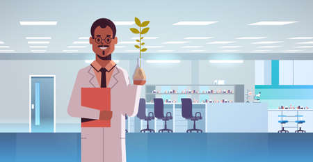 male scientist examining plant sample in test tube african american man with clipboard in uniform making experiment chemical research science concept modern genetic lab interior horizontal portrait ve  イラスト・ベクター素材