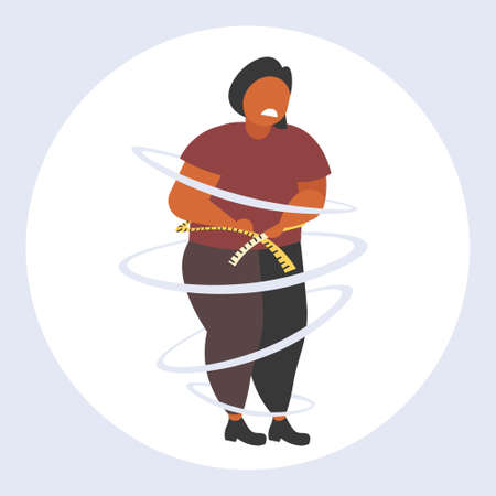 fat obese woman measuring her waistline sad african american overweight girl using tape measure weight loss obesity concept flat full length vector illustration Foto de archivo - 129965542
